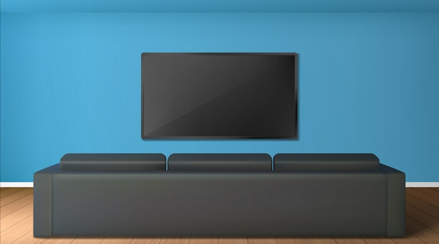 Leeres wohnzimmer mit tv-bildschirm an der wand und rückansicht zum schwarzen sofa