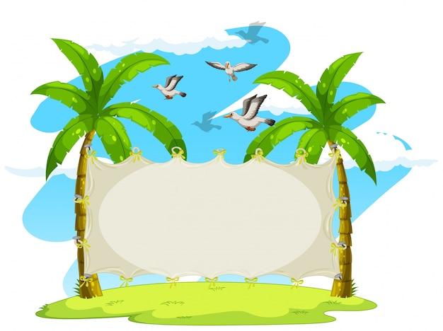 Leeres zeichen auf kokosnussbäumen