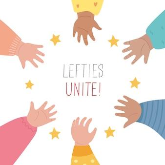 Lefties regelkonzept banner. 13. august, feier zum internationalen tag der linkshänder.