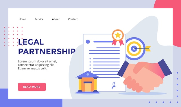 Legal partnership handshake-konzeptkampagne für die startseite-vorlage der homepage der website