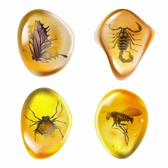 Legen sie bernstein mit insekten auf weißem hintergrund. sammlung alter und moderner insekten, die in bernstein eingefroren sind. petrolharz für das design. edelstein- oder mineralblase. vektorillustration auf lager