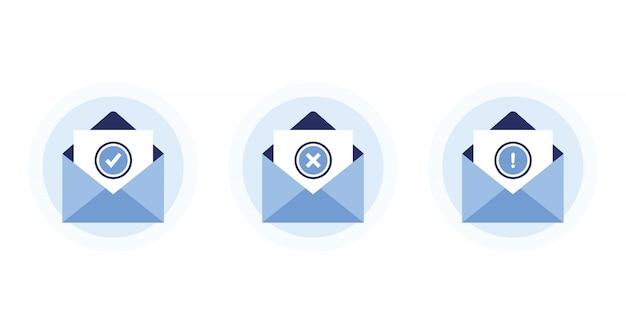 Legen sie buchstaben in offene umschläge. nachrichten empfangen und senden. bestätigung, fehler, warnung. mit genehmigten und abgelehnten briefen. newsletter-abonnement. blau