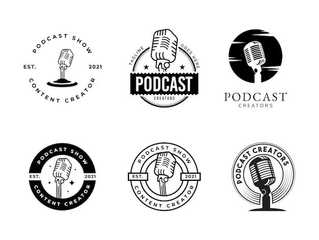 Legen sie das designkonzept für das vintage-podcast-logo fest