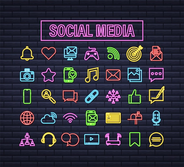 Legen sie das neon-symbol für soziale medien fest. telefonsymbol. digitale kommunikation. chat-blase. vektorgrafik auf lager.