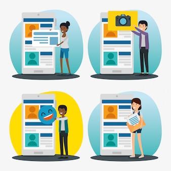 Legen sie das profil für die soziale zusammenarbeit auf die kommunikationsnachricht fest