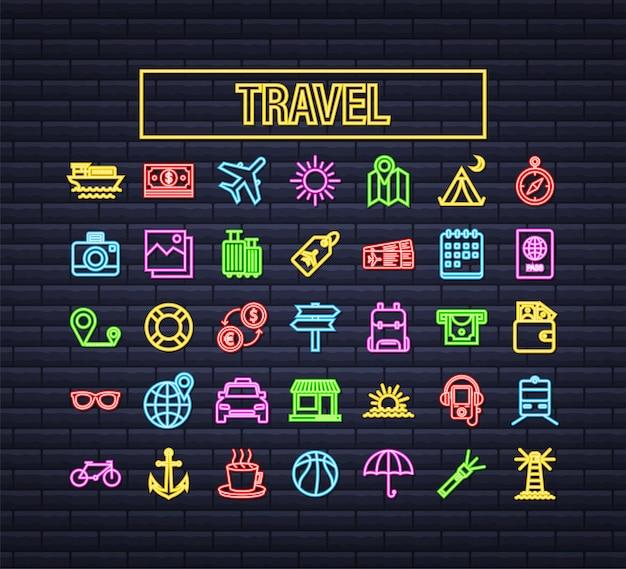 Legen sie das reise-neon-symbol für das webdesign fest. business-symbol. vektorgrafik auf lager.