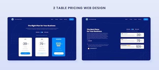 Legen sie das webdesign für die tabelle mit minimalen preisen fest