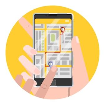 Legen sie den abholort in der taxi-buchungs-app fest. auto online im smartphone bestellen. banner mit gelbem bildschirm auf dem telefon. illustration