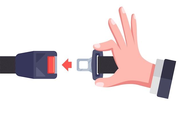 Legen sie den sicherheitsgurt im auto an. flache vektorillustration.