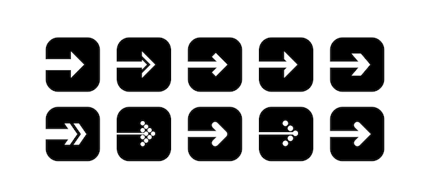 Legen sie den vektor für das schwarze pfeilsymbol in form eines abgerundeten quadrats fest