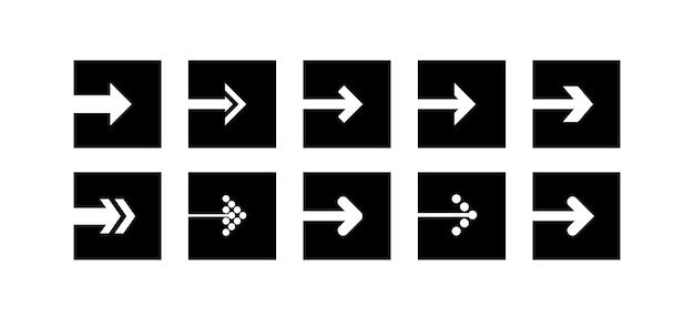 Legen sie den vektor für das schwarze pfeilsymbol in form eines quadrats fest