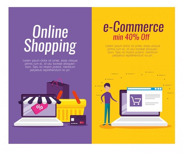 Legen sie die e-commerce-technologie für laptops mit kreditkarte fest