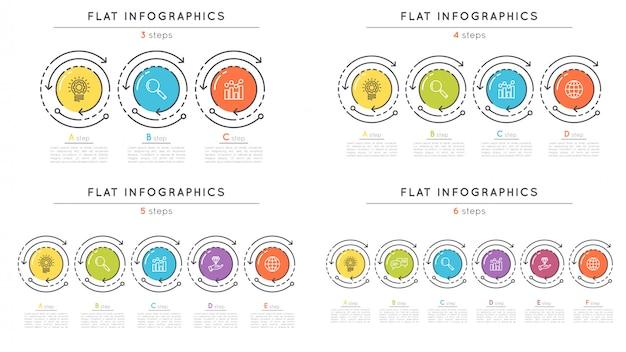 Legen sie die infografik-vorlagen für zeitleistenschritte im flachen stil fest.