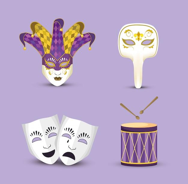 Legen sie die karnevalmasken mit jokerhut und trommel