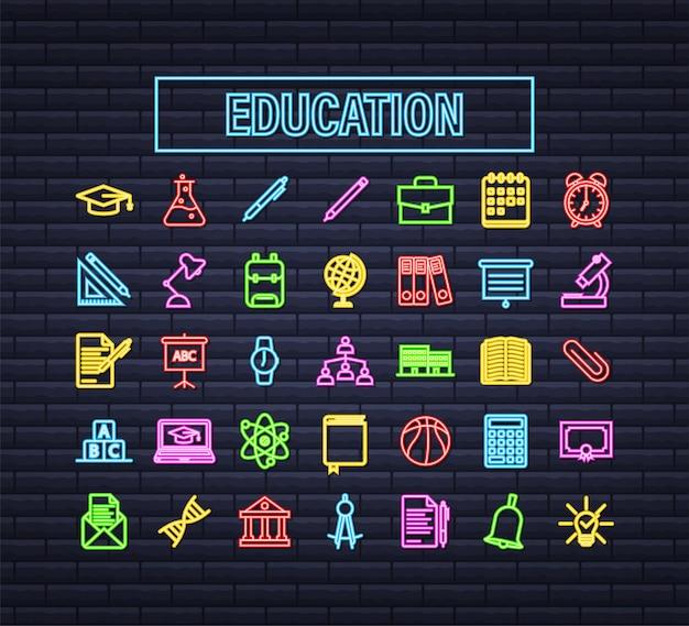 Legen sie die neon-icon-erziehung für das design von mobilen apps fest. symbolsatz für die online-kurslinie. online-studium, bildung. vektorgrafik auf lager.