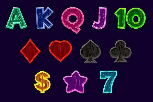 Legen sie die symbole für spielautomaten fest. vektorspielsymbole von kartensymbolen für spielautomaten oder casino in holzstruktur. spielcasino, slot, benutzeroberfläche. isoliert auf separaten ebenen.