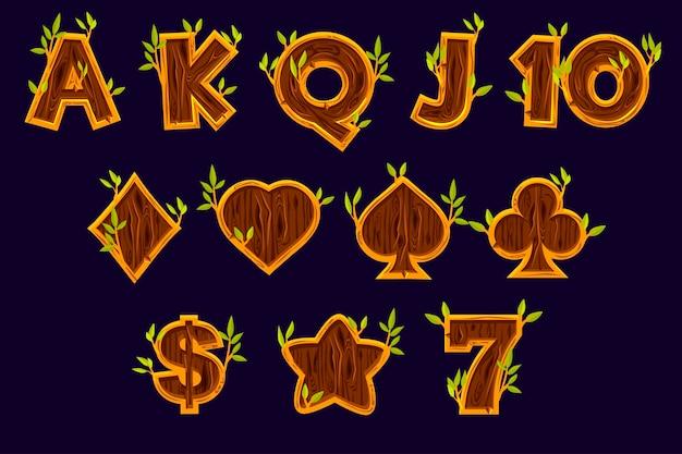 Legen sie die symbole für spielautomaten fest. vektorspielsymbole von kartensymbolen für spielautomaten oder casino in holzstruktur. spielcasino, slot, benutzeroberfläche