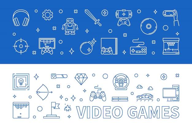 Legen sie die umriss-banner für videospiele fest