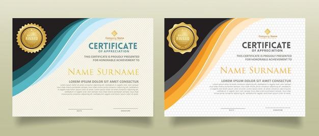 Legen sie die zertifikatvorlage mit dynamischen und futuristischen polygonalen formen fest