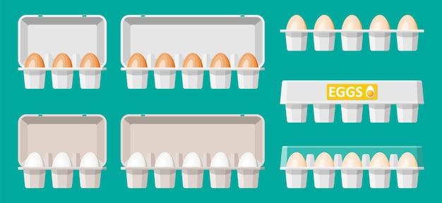 Legen sie eier in kartonverpackung isoliert auf grün. cartoon weißes und braunes ei-symbol im fach. milchprodukte und lebensmittelgeschäft. ostermodellkonzept. flache vektorillustration.