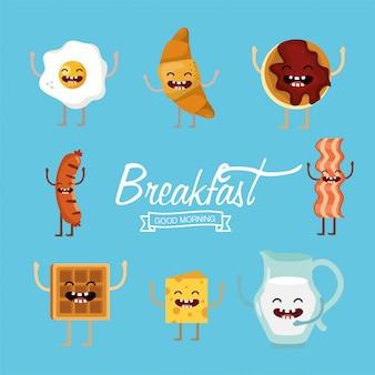 Legen sie ein köstliches frühstücksnahrungsmittel mit armen und beinen