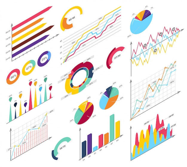 Legen sie elemente der isometrischen infografiken fest