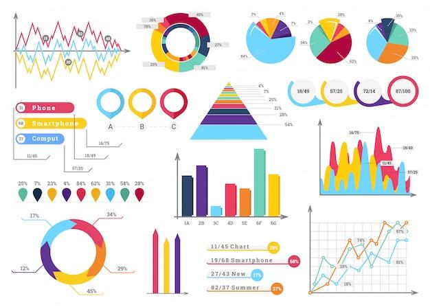 Legen sie elemente von infografiken fest.