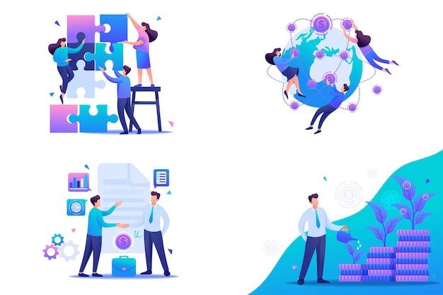 Legen sie flache 2d-konzepte teamwork, investitionen und wachstum, geschäftsvereinbarung fest. für konzept für webdesign.