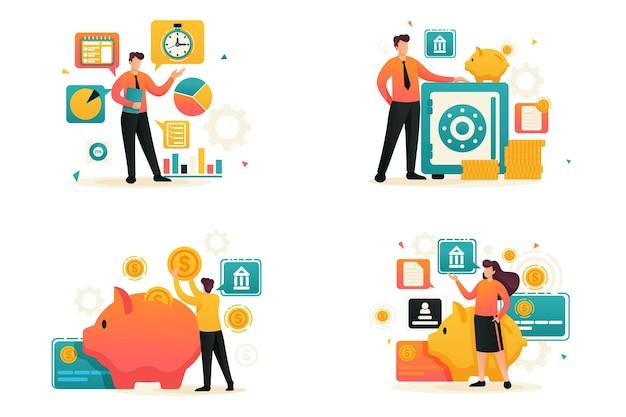 Legen sie flat 2d fest, geld sparen, bankeinlagen, investitionsplan, zeitmanagement. konzept für webdesign.