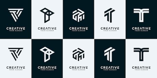 Legen sie kreative sammlungsbuchstaben t-logo-design-vorlage fest.