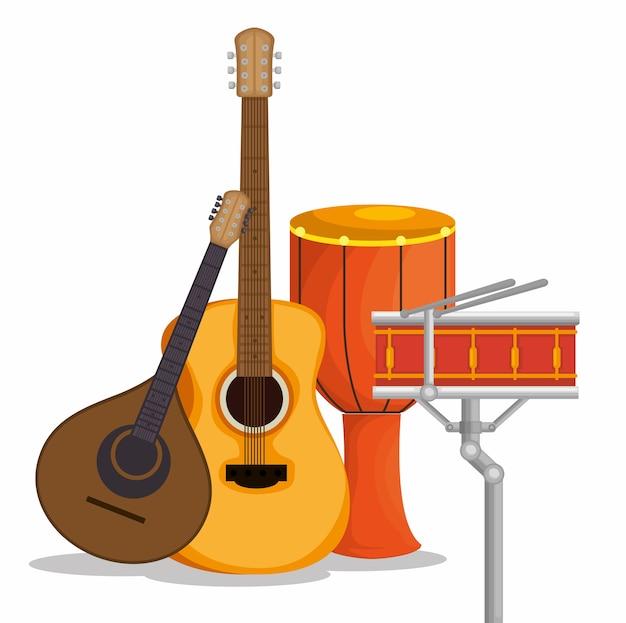 Legen sie musikinstrumente symbole