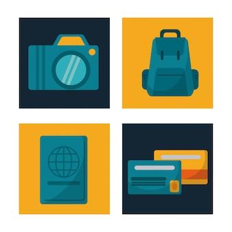 Legen sie reisekamera rucksack kreditkarte reisepass