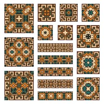 Legen sie sammlungen geometrischer abstrakter ornamente fest. ethnische muster