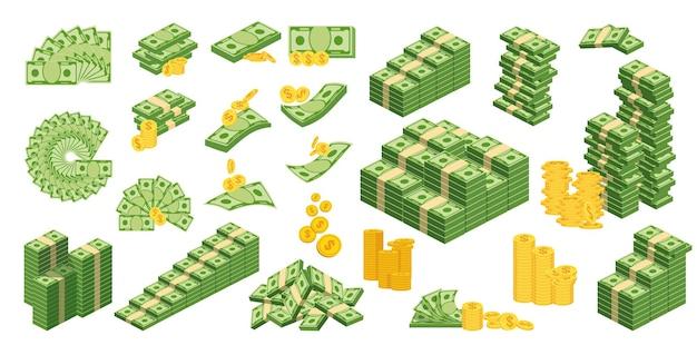 Legen sie verschiedene arten von geld fest. packen in bündel von banknoten, geldscheine fliegen, goldmünzen. banken und haushalt. flache vektorillustration. objekte isoliert auf weißem hintergrund..