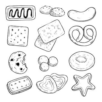 Legen sie verschiedene kekse mit handgezeichneten oder skizzierten stil