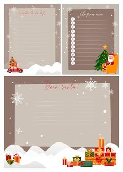 Legen sie vorlagen für neujahrsplaner fest. menü, aufgabenliste und brief an den weihnachtsmann.