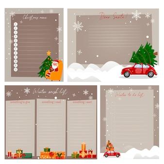 Legen sie vorlagen für neujahrsplaner fest. menü, to-do-liste, wunschliste und brief an den weihnachtsmann.
