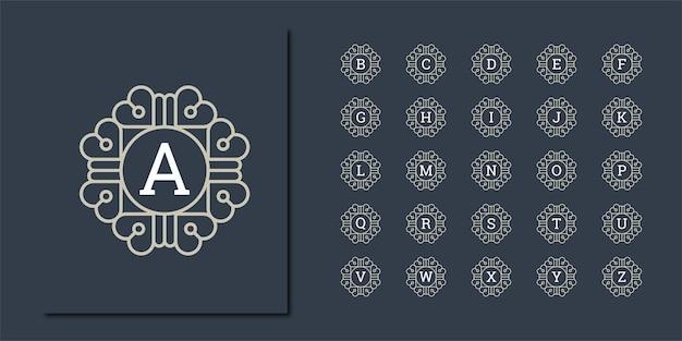 Legen sie vorlagenbuchstaben fest, um monogramme aus zwei buchstaben in einem kreis im jugendstil zu erstellen
