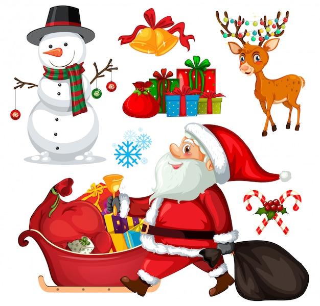 Legen sie weihnachtsobjekte und charaktere fest