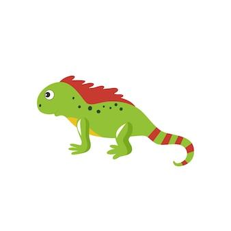 Leguaneidechse isoliert auf weißem hintergrund. kinder-cartoon-vektor-illustration für alphabet mit tieren. schlangen, reptilien und reptilien.