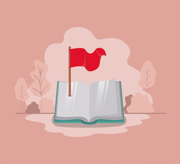 Lehrbuch mit flag-symbol isolieren