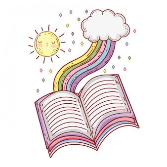 Lehrbuch mit regenbogentagesfeier