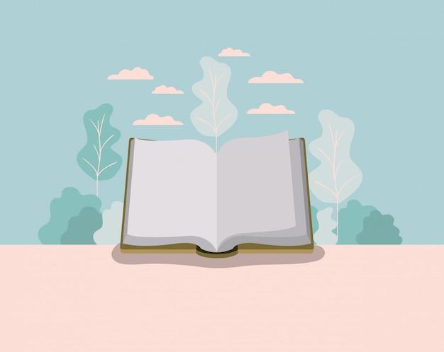 Lehrbuch mit waldlandschaft