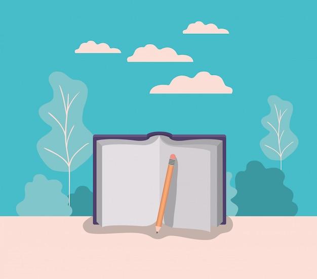 Lehrbuch und bleistift mit waldlandschaft
