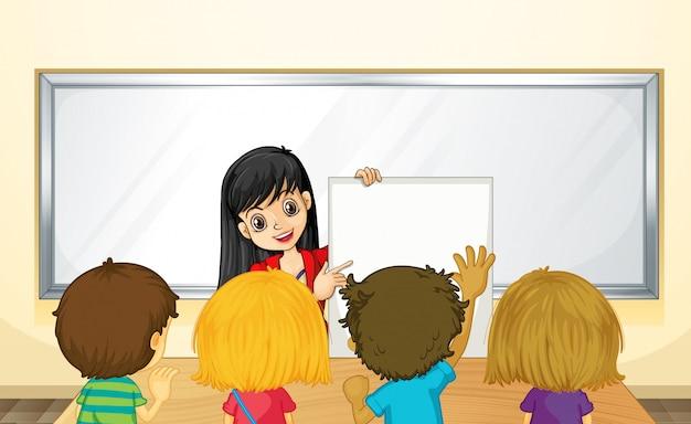 Lehrer, der kinder in der klasse unterrichtet