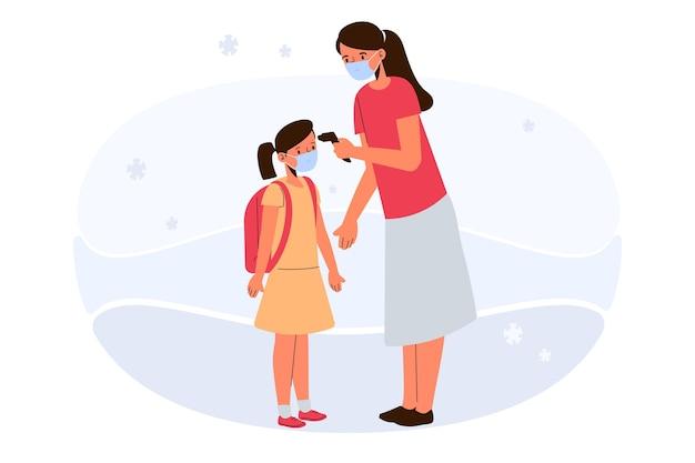 Lehrer, der kindertemperaturentwurf prüft