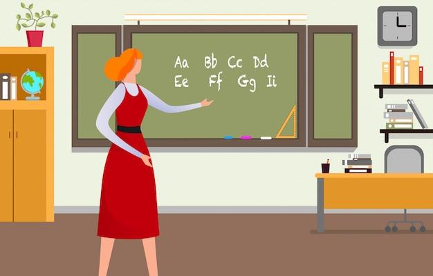 Lehrer, der lektion am klassenzimmer gibt.