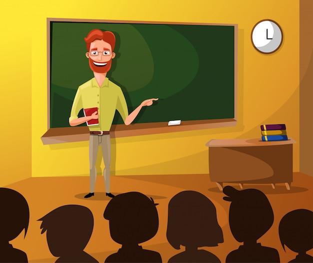 Lehrer, der studenten im klassenzimmer unterrichtet