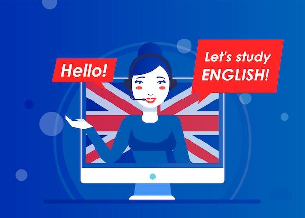 Lehrer einer website zum online-lernen von englisch