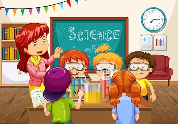 Lehrer erklärt den schülern im klassenzimmer ein wissenschaftliches experiment